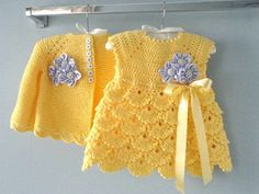 Crochet Baby Dress Crochet Baby Cardigan Bonnet Shoes Knitted Baby Girl Jacket N … - My handwork Crochet Baby Sweaters, Crochet Baby Cardigan, Knit Baby Dress, Crochet Baby Clothes, Baby Blanket Crochet, Knitted Baby, Crochet Baby Dress Pattern, Newborn Crochet Patterns, Baby Girl Crochet