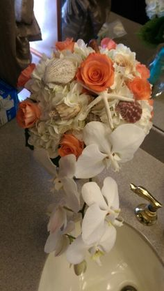 White and coral bouquet
