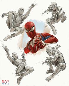Spiderman Poses, Spiderman Art, Amazing Spiderman, Spiderman Drawing, Marvel Art, Marvel Heroes, Character Drawing, Character Design, Comic Artist
