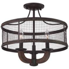 "Frankton Industrial 16"" Wide Bronze Ceiling Light"
