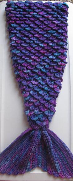 Mermaid Tail Lap Blanket Crocodile Stitch by OnTheWayCrochet