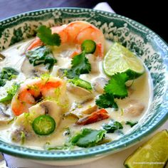 The view from Great Island: Day of All Citrus Week: Thai Coconut Lime Soup with shrimp. Seafood Recipes, Soup Recipes, Cooking Recipes, Thai Coconut, Coconut Milk, Coconut Shrimp, Coconut Soup, Thai Soup, Thai Thai
