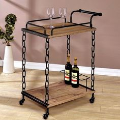 Pin for Later: 40+ Bar Carts That Will Make Your Boozy Dreams Come True  Furniture of America Porteno Industrial Chain Link Serving Cart ($190)