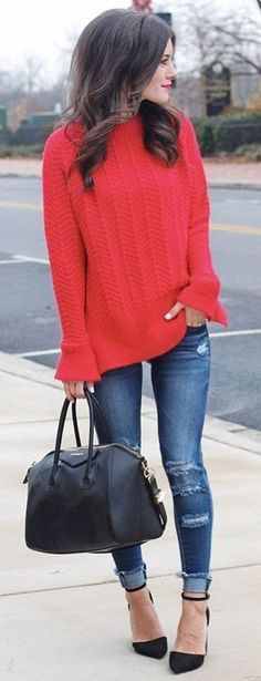 #winter #fashion / Red Knit / Ripped Skinny Jeans / Black Pumps / Black Leather Tote Bag