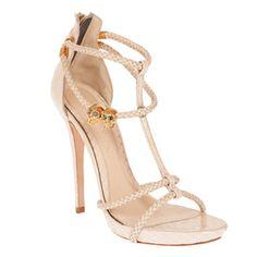 Sandali in pelle con listini intrecciati e teschi in metallo Alexander McQueen