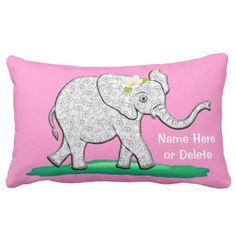 Get comfy with a cute baby elephant pillow!  Add special text for just the right touch to the special nursery.  Click here to personalize ~ http://www.zazzle.com/personalized_pink_baby_elephant_pillows_your_color-189249656953658097?rf=238997772289119810  You may customize to your color theme ~ http://www.zazzle.com/littlelindapinda?rf=238997772289119810  Check back for more elephant themed gift items!