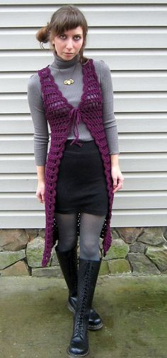 midi length vest from The Gypsy Vest Accessory Book III by Jack Frost (the yarn people), Volume 77, 1970 http://web.archive.org/web/20020203185603/http://www.cei.net/~vchisam/groovy/7708.html