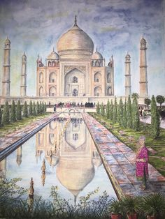 Taj Mahal commission: Pastel Painting by Dave Archer