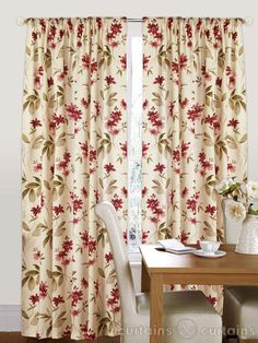 Amazon red & cream floral pencil pleat curtains