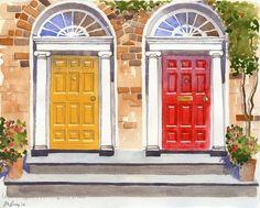 Door Art - Dublin Georgian Doors - 11x14 Fine Art Watercolor Print Red and Yellow Doors on Etsy, $35.00