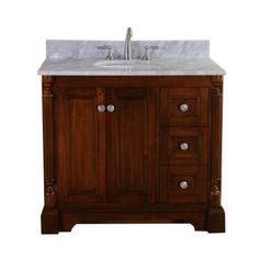 Virtu USA Megan 37 in. Single Basin Vanity in Antique Oak with Marble Vanity Top in Italian Carrera White-RS-11036-WM-AO at The Home Depot