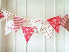Items similar to Holiday Fabric Garland Bunting- A String of Joy- Made to Order on Etsy Fabric Garland, Fabric Bunting, Bunting Garland, Bunting Banner, Fabric Banners, Bunting Ideas, Tissu Style Shabby Chic, Shabby Chic Fabric, Valentines Day Party