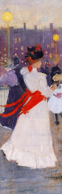 Ashcan School - Maurice Prendergast  c1895-7 Lady with a Red Sash oil on canvas 61 x 21 cm