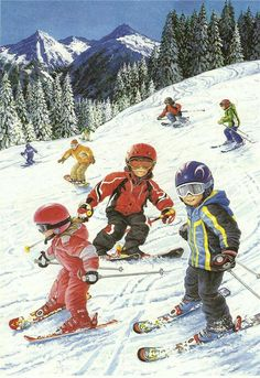 Best Picture For Winter Sports Preschool crafts For Your Taste You are looking for something, and it is going to tell you exactly what you are looking for, Snow Scenes, Winter Scenes, Christmas Scenes, Christmas Art, Children's Book Illustration, Illustrations, Winter Fun, Winter Sports, Winter Pictures