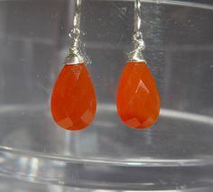 Orange Chalcedony Earrings, Chalcedony Earrings, Chalcedony Simple Earrings, Chalcedony Minimalistic Earrings by ThreeMagicGenies on Etsy