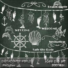 Sea wedding chalkboard clipart hand drawn clip art chalkboard fishes borders garlands dolphin, fish banner beach party wedding digital scrap