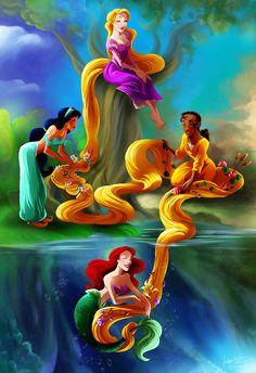 Rapunzel, Jasmine, Tiana, Ariel