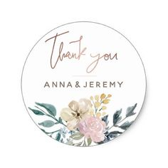 Thank you Rose Gold Floral Wedding Sticker - gold wedding gifts customize marriage diy unique golden