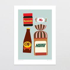 """""""A Taste Of Kiwi"""" - Art Print by Glenn Jones Art - art to make you smile. Available in a range of sizes. Click image to buy online. Glenn Jones, Fine Art Prints, Framed Prints, New Zealand Art, Nz Art, Kiwiana, Freelance Illustrator, Cute Art, Graphic Illustration"""