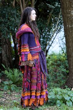 Ready Now Fall  gypsy  faery dream traveling patchwork upcycled recycled sweater coat.