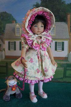 "13"" Dianna Effner's Little Darling ""Simply Soft Rosebud"" 6-Piece Dress Ensemble."