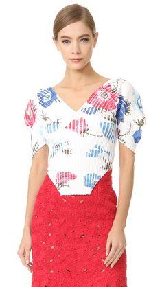 SALVATORE FERRAGAMO V Neck Puff Sleeve Top. #salvatoreferragamo #cloth #dress #top #shirt #sweater #skirt #beachwear #activewear