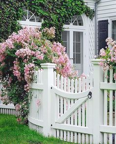 Green Fence How To Make white fence panels.Old Fence Restoration. Front Gates, Front Yard Fence, Diy Fence, Fence Landscaping, Backyard Fences, Garden Fencing, Fenced In Yard, Pallet Fence, Fence Art