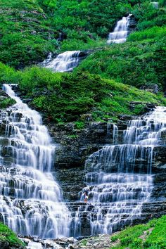 Waterfall, Logan Pass, Glacier National Park, Montana USA His creation~ Oh The Places You'll Go, Places To Travel, Places To Visit, Beautiful Waterfalls, Beautiful Landscapes, Montana Usa, Glacier National Park Montana, Glacier Park, Jasper National Park