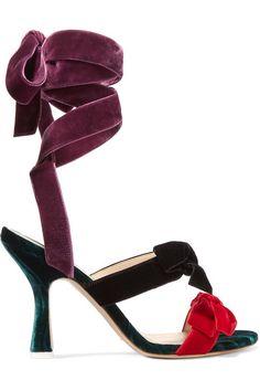 Attico - Diletta Bow-embellished Velvet Sandals - Black - IT39