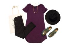 Paralomis Tunic, a bamboo organic cotton classic in eggplant purple. Shown with jeans by Yoga Jeans available at Workshop Boutique, shoes by Fluevog, brass necklace available at Kindred Boutique, hat and tote bag. Eggplant Purple, Brass Necklace, Organic Cotton, Bamboo, Workshop, Canada, Tunic, Hat, Yoga