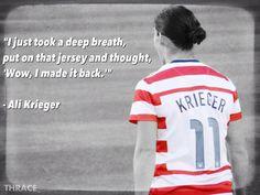 Finally back. Ali Krieger.