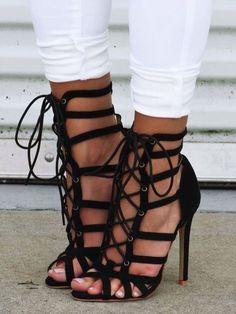 Stylish Ladder Eyelet Anckle Thin Heel Sandals