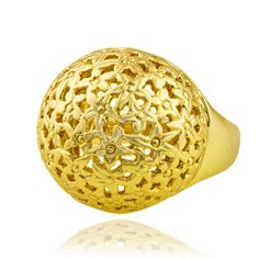 A profusion of tiny daisies have been carved into this high domed ring to create a touch of enchantment and magic for your day. One of our most comfortable rings, it slides easily onto the finger for everyday wear.  Created from recycled brass. Plated with nickel free 18ct gold or sterling silver.
