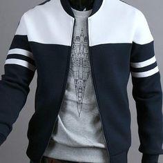 Autumn Jacket Casual Zipper Sportswear Patchwork Jacket in 2018 Man's Overcoat, Revival Clothing, Bomber Jacket Men, Man Jacket, Mens Clothing Styles, Men's Clothing, Mantel, Men Casual, Mens Fashion