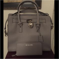 Large Pearl Gray Michael Kors Hamilton Set Like New Condition carried twice for sale or possible trade for the right bag or set Trade Value Higher Michael Kors Bags