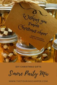 """Looking for an affordable gift idea for teachers, neighbors, or co-workers? This camping-inspired project will help spread """"s'more"""" Christmas cheer! Camping Theme, Camping Life, Camping With Kids, Family Camping, Family Trips, Rv Camping Recipes, Camping Meals, Campfire Recipes, Rv Gifts"""
