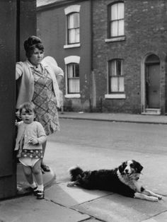 © Shirley Baker  Mother Daughter and Pet Dog on Salford Street Corner