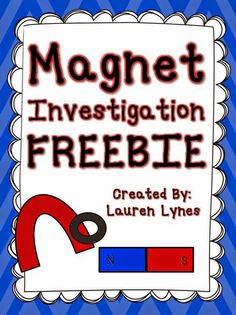 Have your students test to see if different items are attracted to magnets! This freebie includes teacher instructions, activity photos, and a student record sheet. Primary Science, Preschool Science, Teaching Science, Science Activities, Science Centers, Science Experiments, Kid Science, Science Ideas, Physical Science