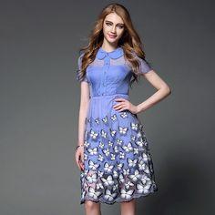 Été mignon femme bleu robe Peter Pan princesse collier robe à manches courtes papillon broderie genou longueur mince robe OY60683