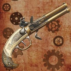 "Straitquin pistol.    ""Straitquins were light and elegant, with a slim slug-only barrel and the hydraulics tucked away in the slight curve of the grip. The ivory grip of her personal favorite was carved with an elaborate seraphin rooster, the hydraulic vent holes placed strategically so the light shone through the bird's eyes and open beak.""    http://kmweiland.com/books_D.php"