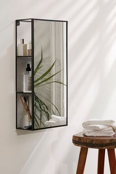black mirror shelf as a medicine cabinet alternative for the bathroom from Urban Outfitters