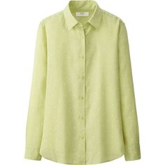 UNIQLO Premium Linen Patterned Long Sleeve Shirt ($15) ❤ liked on Polyvore featuring tops, green, linen beach shirt, long sleeve summer shirts, polka dot top, green long sleeve shirt and long sleeve tops