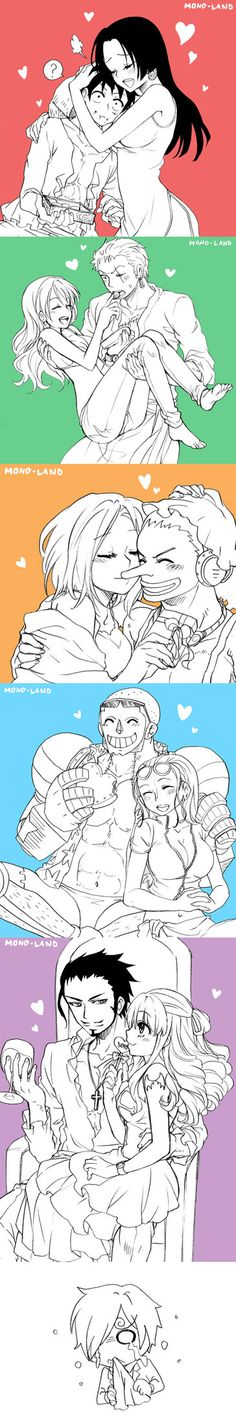 Luffy X Hancock , Zoro X Nami , Usopp X Kaya Franky X Robin , Mihawk X Perona ------------------------------------------------------------ I draw them for Valentine's day but just finished it late ...