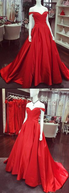 Long A Line Off the Shoulder Red Satin Cheap Prom Dresses Evening Gown Party Dress LD1112