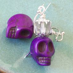 Purple Day of the Dead Skull Earrings by VivaGailBeads on Etsy, $8.00