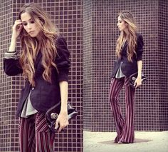 Vertical striped hippie pants