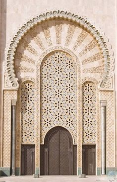 Stock image of 'Hassan II mosque in Casablanca, Morocco' Detail Architecture, Islamic Architecture, Art And Architecture, Architecture Wallpaper, Morocco Casablanca, Moroccan Doors, Moroccan Art, When One Door Closes, Unique Doors