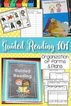 Guided Reading 101 in kindergarten and grade In this post I answer all your basic questions about guided reading and show how I organize my materials, lessons, and reading groups! Kindergarten Reading, Kindergarten Worksheets, Teaching Reading, Teaching Ideas, Reading Lessons, Kindergarten Phonics, Teaching Materials, Preschool Ideas, Guided Reading Groups