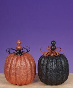 Spooktacular Home: Indoor Décor  -  Glittered Bow Topped Pumpkin Set - Zulily