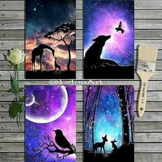 Creative drawings – creative gift wrap for kids 13 diy ideas for christmassimple diwali special rangoli small kolam latest and…creative wood burning pyrography home decor Silhouette Painting, Spray Paint Art, Chalk Paint, Galaxy Art, Pastel Art, Beautiful Paintings, Creative Art, Creative Drawing Ideas, Painting & Drawing